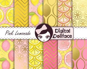 "Pink Lemonade Digital Paper, ""Pink Lemonade Party"" pink, lemon yellow and gold printable patterns"
