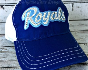 ROYALS Bling Hat - Distressed Trucker Cap- Royals Baseball - Swarovski Rhinestones