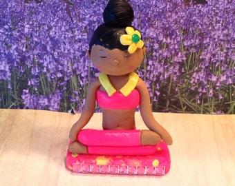 Polymer clay yoga girl,yoga girl, miniature candles, African American, spa, ooak, Zen girl,workout,spring,art dolls,gift ideas,meditation.