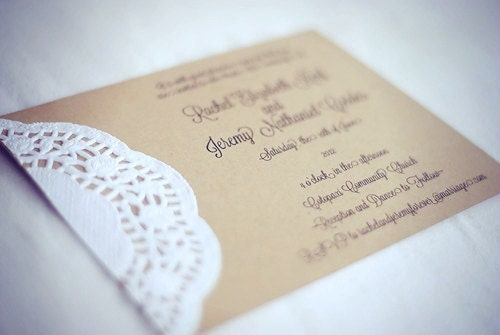 Custom Made Wedding Invitations: Custom Vintage Lace Doily Wedding Invitations With Script