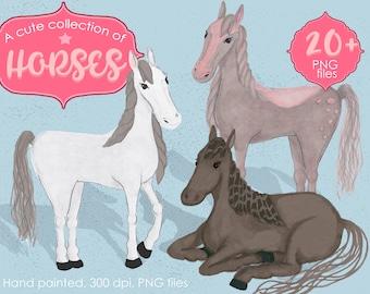 A cute colection of Horses/horses Clip Art/horses PNG/Illustration/Infographic/flyer/scrapbook/portrait/sitting horses