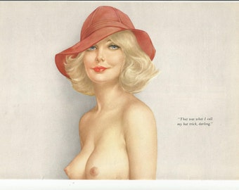 MATURE - Vintage 2 Page 1973 Vargas Girl from Playboy Magazine Nude Blonde with Hat Adult Frontal Nudity Artistic Pinup Girl Large Size