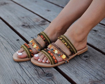 "Leather sandals ""Aysel"", Handcrafted Greek sandals, Ancient sandals, Gold sandals, Gladiator sandals, Boho sandals"