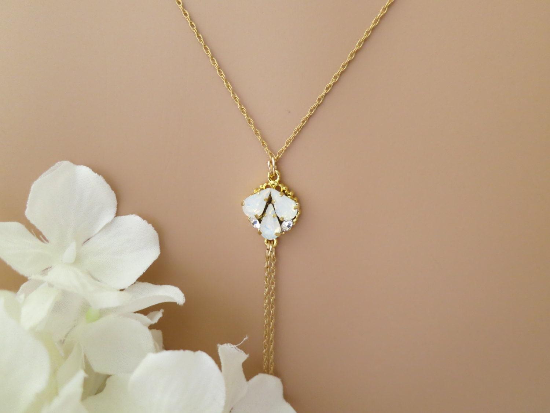 Backdrop wedding necklace Opal backdrop bridal necklace