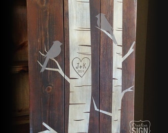 Initials Heart Carved in Tree, Bird in Tree Wood Sign, Birch Tree, Anniversary Gift, Wedding Gift, Est. Date, Personalized Gift, Custom Gift