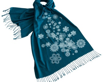 Snowflake Printed Scarf, snow scene print linen-weave pashmina. Winter scarf, silkscreen print scarf.