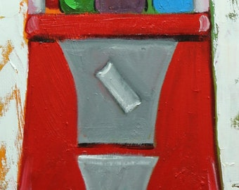 Gumballs 20 12x36inch original oil painting by Roz