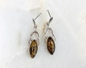 Vintage Sterling Amber Earrings