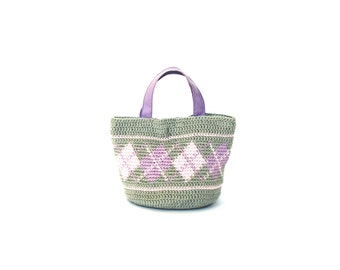 Cotton mini purse crochet bag with plaid motives gray crochet handbag purple bag small crochet bag basket crochet purse crochet tote bag
