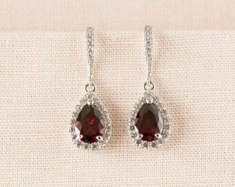 Crystal Bridal earrings  Garnet Wedding jewelry Red Swarovski Crystal Wedding earrings Bridal jewelry, Ariel Red Drop Earrings