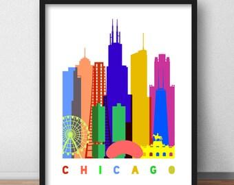 Chicago Print, Chicago Skyline Scandinavian Print, Chicago Mid Century Modern, Chicago Wall Art, Chicago Pop Art Poster Minimalist (G0106)