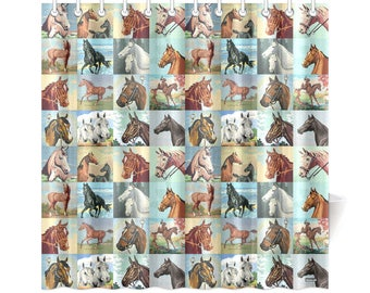 Vintage Paint By Number Horses Shower Curtain - pbn horses - vintage western paintings