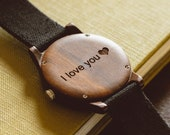 Father's Day Gift, Engraved Wood Watch, Personalized Wood Watch, Men's Wood Watch Customized, Canvas Strap