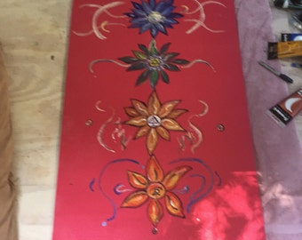 Hand painted Yoga mat designed to inspire
