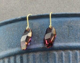 Handmade Dangle Earrings With Purple Swarovski Crystals on Gold Filled Hooks Oscarcrow