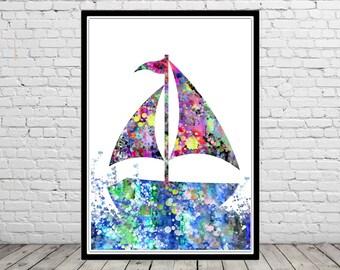 Sailing boat, wall decor, watercolor Sailing boat, travel, sea, navy, watercolor boat, boat poster, boat print, Wall Art, Home Decor (1498b)