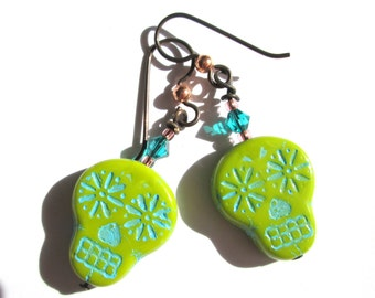 Lime Green Sugar Skull Earrings, Halloween Earrings, Skull Day of the Dead Southwestern Dangle Earrings, Crystal Glass Goth Boho, HO0025