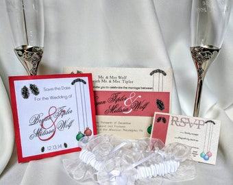 Winter Wedding Invitation - White Christmas Wedding - Woodgrain Wedding Invitations - Rustic Save the Dates - Christmas Wedding - Woodgrain
