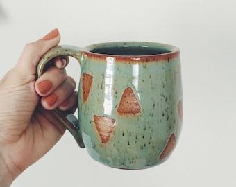 Mint Green Ceramic Triangle Mug teal and brown geometric coffee cup triangle design, wheel thrown coffee mug ceramic mug