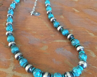 Turquoise and Sterling Silver Santa Fe Pearls Beads Southwestern Native Style Pendant or Charm