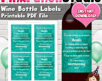 Mermaid Mermazing Teacher Appreciation Gift Wine Bottle Label PDF File INSTANT DOWNLOAD
