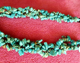 HEADBAND: Fashion Forward Turquoise Chips Beaded Elastic Headband
