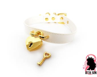 White and Gold Heart Padlock Choker with Key, White Heart Padlock Choker, White Heart Padlock Collar, Gold Heart Padlock Collar, Love Slave