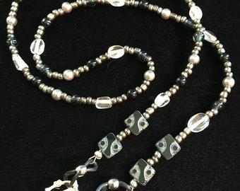 Beaded Eyeglass Holder, Eyeglass Necklace, Eyeglass Loop, Eyeglass Lanyard, Glasses Chain, Black, Silver, Glass, Grey