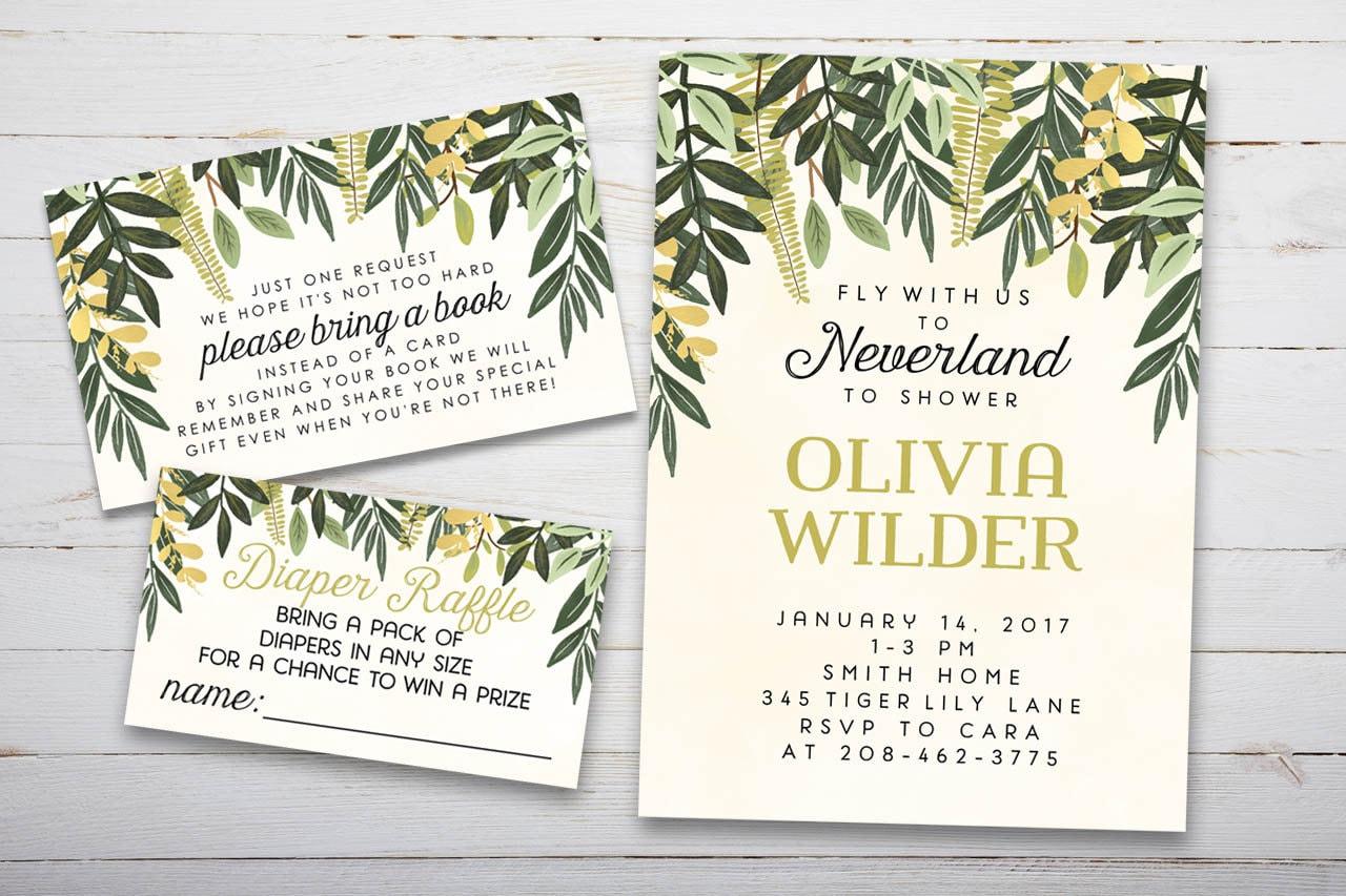 Woodland Peter Pan Baby Shower Set Printable Invitation