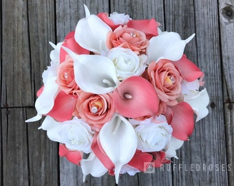 Coral Bridal Bouquet, Coral Calla Lilies, Ivory Calla Lilies, Real Touch Wedding Bouquets