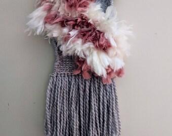 Handmade Boho Woven Wall Hanging | Shabby Chic Decor | Gray, Cream and Pink | Woven Tapestry | Fiber Art | Texitle Art