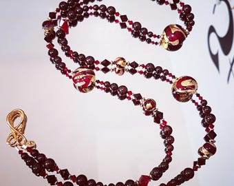 Necklace doubles tour, Garnet, Swarovski Crystal and Murano glass with gold plated beads