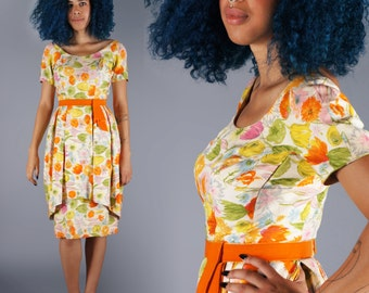 50s Tulip Skirt Dress Made in France Bombshell Floral Silk Wiggle Dress Velvet Bow Garden Party Dress 36 37 38 Bust Size Medium