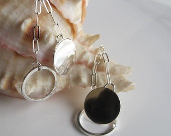 Flirty Dangle Earrings, Sterling Silver Circles & Rings
