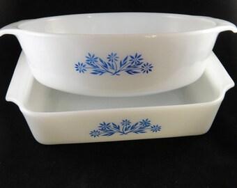Milk Glass Fire King Blue Cornflower Pattern Baking Serving Dishes