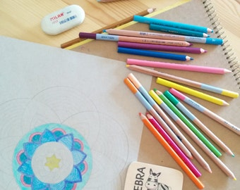Shabbat Shalom Art-Coloring Page-Strength Mandala-Jewish prayer-Girls Printable-INSTANT DOWNLOAD-Girls DIY-Jewish Art Crafts Activities