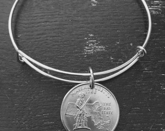 Massachusetts state quarter expandable wire bangle bracelet