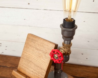 THE NIGHT LIGHT, Industrial style, Edison bulbs, Industrial Lighting, Steampunk, DeskLamp, Table Lamp, Iron pipe light, Urban chic, Rustic