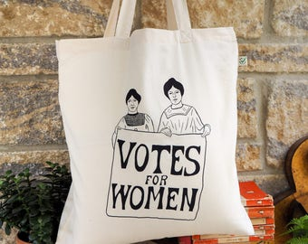 Votes for Women Tote Bag - Feminist Slogan Bag -  Organic Cotton Shopping Bag - Feminism - Grocery Bag - Gift for Book Lover - Suffragettes