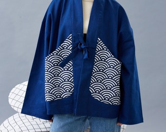 Lost in Kyoto Collection dark blue japanese wave pattern made jean kimono outwear for both Men and Women