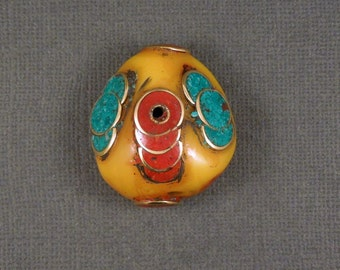 Tibetan Bead - Large Tibetan Bead - Amber Resin with Turquoise Brass and Red Copal S24B4-01