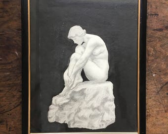 Vintage Nude Pencil Illustration 1922 Signed Framed from Sculpture Mixed Media watercolor pencil