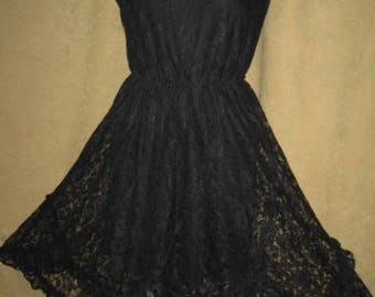 Lace Dress 80s Does 50s Black Vintage