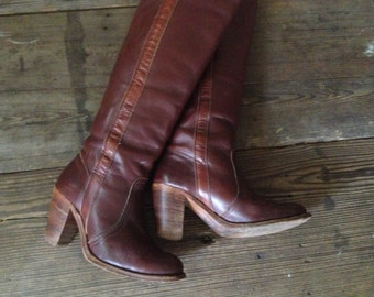 Frye Campus Riding Boots Chocolate Brown Size 5,5 US High Heels