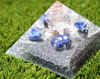 LED Orgone Pyramid ~ CONFIDENCE ~ Sodalite, Clear Quartz, Aluminum, LED Light.