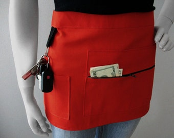 Waitress Apron - RED - Craft Show Apron - Vendor Apron -  Half Apron - Hostess Apron