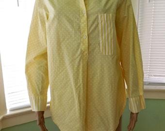 Womens PAJAMA SET/Cotton Pajamas/Yellow Pajamas/Yellow Polka Dot Pajamas/Pyjamas/Night Shirt/Short Babydoll Pajamas/Made In England/Small