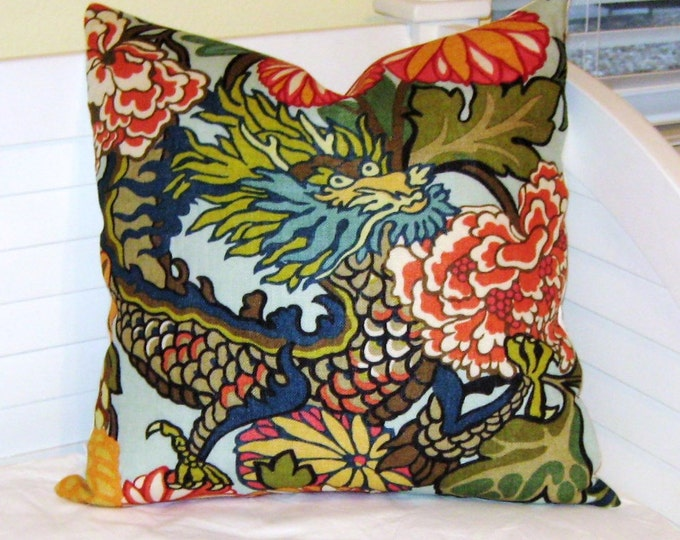 OUTDOOR Schumacher Chiang Mai Dragon in Aquamarine Designer Pillow Cover - Design on One Side or Both Sides