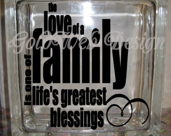 DIY Decal for Glass Blocks - The Love of the family Decal