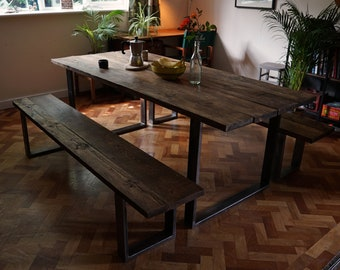 Bespoke industrial chic dining table, reclaimed wood and raw steel
